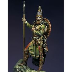 Slavic Warrior VII century A D Pegaso Models white metal kit Gaul Warrior, The Modelling News, Roman Warriors, Viking Helmet, Arm Armor, Fantasy Miniatures, Toy Soldiers, Roman Soldiers, Dark Ages