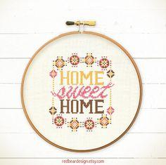 Home Sweet Home cross stitch pattern  Modern Warm by redbeardesign
