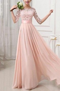 Pink Lace Splicing Round Neck Half Sleeve Maxi Chiffon Dress