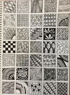 Zentangle Patterns for Beginners Zentangle Drawings, Doodle Drawings, Zentangles, Pencil Drawings, Doodle Patterns, Zentangle Patterns, Zen Doodle, Doodle Art, Art Prompts
