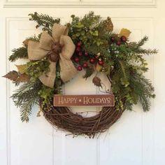Christmas Wreath-Winter Wreath-Wooden Sign-Rusted Sleigh Bells Wreath-Christmas… by virginia Primitive Christmas, Country Christmas, Winter Christmas, Christmas Holidays, Christmas Crafts, Christmas Decorations, Holiday Decor, Happy Holidays, Holiday Wreaths
