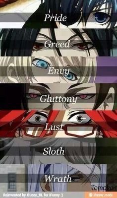 BB characters as the Seven Deadly Sins...I finally found it..tbh though it should have only been the demons and the grim reapers..just sayin'