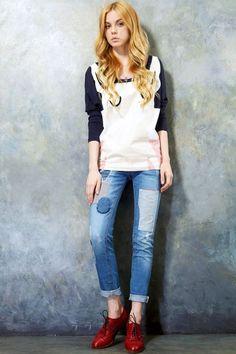 Worn Finish Low Waist Jeans