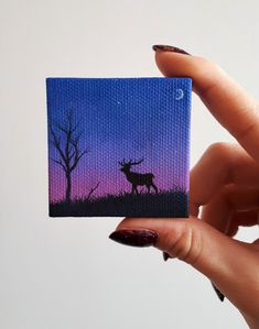 Deer Painting Large Buck Deer At Dusk Half Moon Art Deer Silhouette Tiny Painting Mini Artwork Art Gift Idea The Great Outdoors Art - Painting Small Canvas Paintings, Small Canvas Art, Mini Canvas Art, Indian Art Paintings, Mini Paintings, Hirsch Silhouette, Deer Silhouette, Silhouette Painting, Mini Toile
