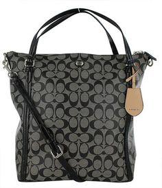 Coach 24601 Peyton Black Signature Convertible Shoulder Bag