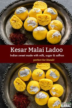 These melt-in-mouth Kesar Malai Ladoo require only a handful of ingredients. Made with milk, sugar and flavored with saffron and cardamom, these are must for the festive season. Easy Indian Dessert Recipes, Indian Desserts, Indian Sweets, Sweets Recipes, Indian Recipes, Pakistani Desserts, Sweet Dumplings, Burfi Recipe, Exotic Food