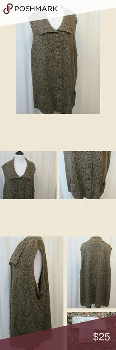 """CJ Banks Brown Long Sleeveless Sweater Vest 3X Beautiful sweater vest. Long. Sleeveless. Collared. 60% cotton 26% acrylic 14% polyester. 52"""" bust 30"""" Length. P1. CJ Banks  Sweaters"""