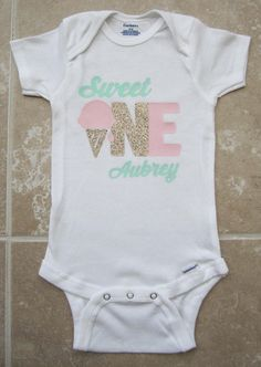 4e44e644a2429 Sweet One First Birthday Onesie - pink gold mint, ice cream birthday, sweet  one birthday outfit, personalized, ice cream headband