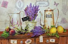 lavender is very Provence - but Hannah hates lavender so.maybe fake lavender? Decoupage Vintage, Decoupage Paper, Tole Painting, Painting On Wood, Shabby Chic Kunst, Provence Lavender, Rose Wallpaper, Flower Pictures, Kitchen Art