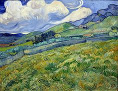 Vincent Van Gogh Wheatfield with Mountains in the Background (also known as Mountain Landscape Seen across the Walls) hand painted oil painting reproduction on canvas by artist Art Van, Van Gogh Art, Vincent Van Gogh, Paul Vincent, Desenhos Van Gogh, Van Gogh Pinturas, Van Gogh Landscapes, Van Gogh Museum, Van Gogh Paintings