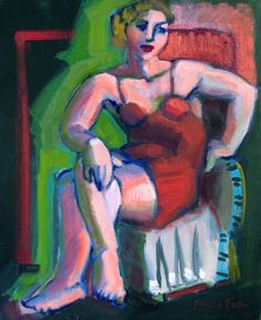 Figurative oil painting woman seated red dress, figure painter, painting by artist Marie Fox