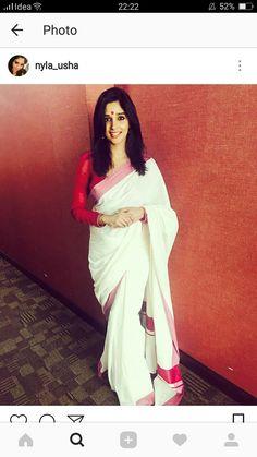 hoping to have a lot of sadhyas this year . Onam Saree, Kasavu Saree, Handloom Saree, Sarees, Kerala Saree Blouse Designs, Cotton Saree Blouse Designs, Nyla Usha, Set Saree, Saree Styles
