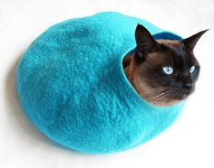 These look comfy...wonder if they make them for humans...? Cat Cave Bed House - Teal wool, $58.87