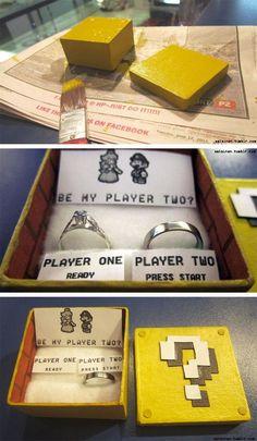 Mario marriage proposal, so nerdy cute! Wedding Proposals, Marriage Proposals, Ways To Propose, Nerd Love, Maybe One Day, Mario Bros, Mario Brothers, Marry Me, Super Mario