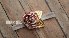 Infant Baby Toddler Taupe Mauve Maroon Chocolate Brown Floral Satin Silk Rose w/ Gold Metallic Leaves on Shiny Taupe 5/8 Adjustable Headband - pinned by pin4etsy.com
