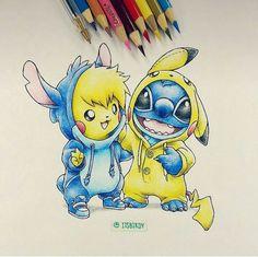 Where should I pin this Pokemon or Disney?I guess both Where should I pin this Pokemon or Disney?I guess both Stitch And Pikachu, Lilo And Stitch, Stitch Movie, Pikachu Pikachu, Cute Disney, Disney Art, Kawaii Disney, Disney Drawings, Cute Drawings