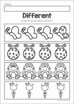 Spring Preschool No Prep Worksheets & Activities. A page from the unit: what is different (visual discrimination)