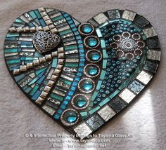 Mosaic Heart - Turquoise -https://www.facebook.com/groups/TayamaCrafts/: