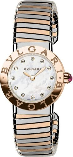 Bvlgari - Tubogas 18Ct Pink-Gold, Stainless Steel And Diamond Watch in Pink