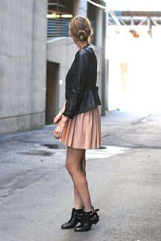 leather & chiffon