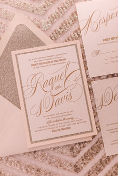 RAQUEL Suite Fancy Glitter Package, Blush and Gold Glitter Wedding Invitations