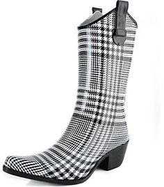 DailyShoes Cowboy Black White Plaid Prints High Heel Rain Boots size 7,7 B(M) US
