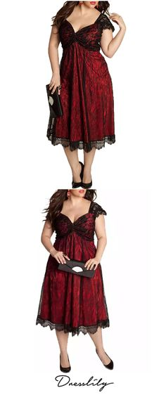 d73fa4f4caa European and American Large Size Elegant Lace Stitching V-Neck Gothic Dress