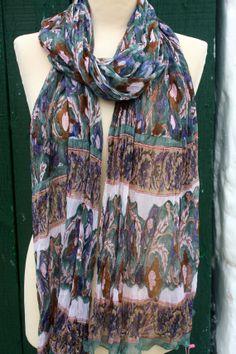 Chiffon shawl in hand block print by AUROBELLE on Etsy, €35.00