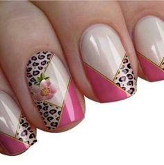 Cougar and floral nail idea