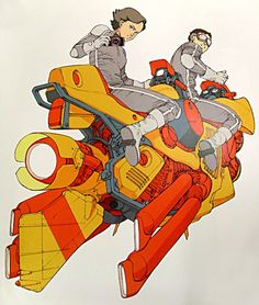 Beautiful vibrant oranges, a great example of Otomo's technological fetishism.