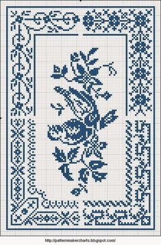 Free Easy Cross, Pattern Maker, PCStitch Charts + Free Historic Old Pattern Books: Sajou No 658 Cross Stitch Bird, Cross Stitch Borders, Cross Stitch Charts, Cross Stitching, Cross Stitch Embroidery, Cross Stitch Patterns, Filet Crochet Charts, Border Pattern, Hand Embroidery Patterns