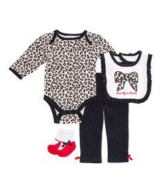 Another great find on #zulily! Cutie Pie Baby Black Leopard 'One of a Kind' Bodysuit Set - Infant by Cutie Pie Baby #zulilyfinds
