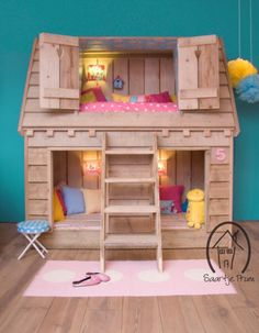 Children playhouses bed wooden house Sleeping