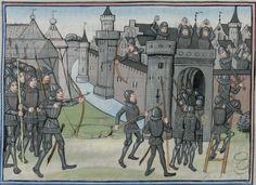"""King Ninus besieges Babylon"", Epitre d'Othea, by Christine of Pizan -- Cod. Bodmer 49, 134r (Cologny, Fondation Martin Bodmer)"