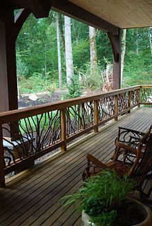 Timber Frame Deck Railing See lots of Deck Railing Ideas http://awoodrailing.com/2014/11/16/100s-of-deck-railing-ideas-designs/