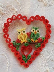 Drobnosti - Valentínske srdiečko - sovičky - 9042743_