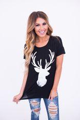 Reindeer Print Tee- Black