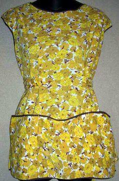 Vintage Apron Full Cotton Cobbler Yellow Flowers - $12.50 : Vintage Collectibles Sewing Patterns Postcards Aprons Ephemera
