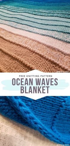 Ocean Waves Blanket Free Knitting Pattern I am amazed at how these beautiful shades of blue, green and beige blend into one another. The ombre effect at its finest! # blanket knitting patterns How to Knit Ocean Waves Blanket Knitting Designs, Knitting Patterns Free, Knit Patterns, Easy Crochet Afghan Patterns, Baby Blanket Knitting Pattern Free, Blanket Crochet, Stitch Patterns, Easy Knitting, Knitting Stitches