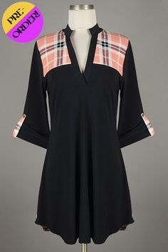 *** New Style *** Lightweight Drop Waist Knit Tunic with High Collar Trim Split Neckline Featuring Plaid Print Contrast Detail.