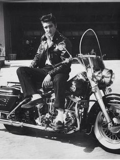 "takingcare-of-business: ""Elvis Presley on his Harley Davidson c. 1950s """