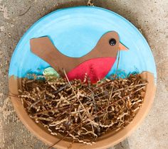 "God Made Birds....Let the kids paint a paper plate...half blue/half brown. Write ""God Made Birds"" on the lip of the blue portion. Glue in a construction paper bird; fill with ""nesting"" material. Punch hole in top and attach yarn for hanging!"