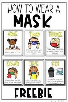 These free posters are perfect for showing students how to wear a face mask due to COVID-19 and social distancing. Wearing a mask is a new thing for many students and they will benefit from these… More Free For School, First Grade Freebies, School Classroom, Classroom Rules, School Safety, Classroom Management Strategies, Social Studies Activities, Back To School Activities, Primary Education
