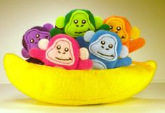 Adorable, an excellent inexpensive way to keep little ones quiet during church<3<3<3  Five Monkeys Finger Puppets in a Banana Boat by ImogenesTeaGarden,