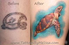 ankle tattoos for women | Sea Turtle Cover- Up Tattoo | Tattoos By Melissa