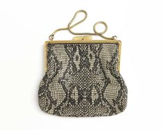 Vintage mesh purse with unusual snakeskin pattern in taupe and brown, Glomes brand, kiss lock, circa by CardCurios on Etsy Snake Skin, 1970s, Taupe, Coin Purse, Kiss, Handbags, Purses, Wallet, Chain