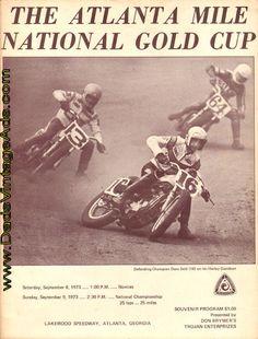 Dave Sehl #16, Dave Aldana #13, and Gary Scott #64R.  The 1973 Atlanta Mile National Gold Cup Motorcycle Racing Souvenir Program