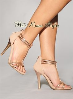 Blush Rose Gold Accent T Strap High Heel Sandals