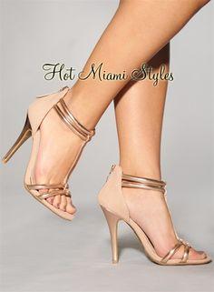 Blush Rose Gold Accent T Strap High Heel Sandals