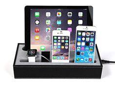 Coscod Kit tout en un Support et station d'accueil et de charge pour produits Apple Similicuir noir: Un super multi chargeur pour tous les…